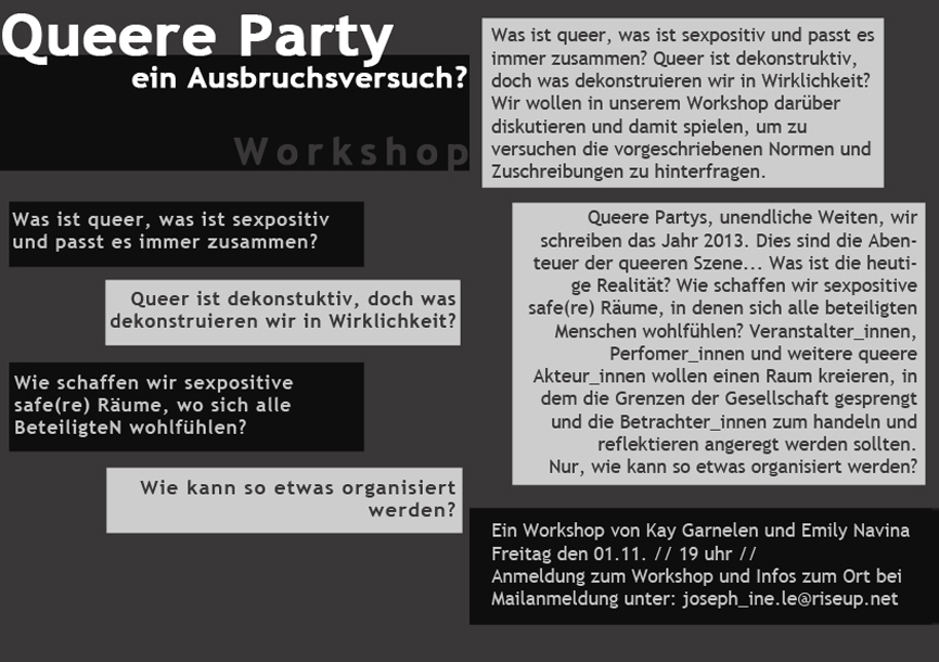 Queere Party Workshop Flyer